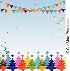 postcard., vrolijk, jaar, nieuw, kerstmis, vrolijke