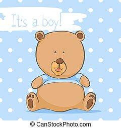 Postcard with a bear cub for a boy