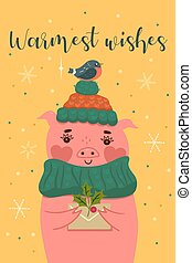 Postcard with a cute Christmas pig. Vector graphics.