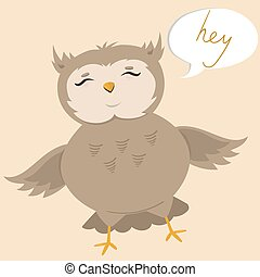 Postcard with a cute owl saying hey. Vector illustration.
