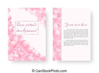 Postcard with a frame of rose petals - A leaflet template...