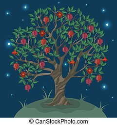 Postcard with a ganat tree against the night sky. Vector illustration