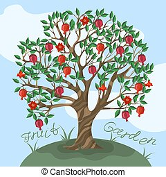 Postcard with a ganat tree against the sky Vector illustration