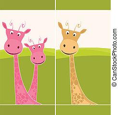 Postcard with a giraffe - Cute postcard with pink giraffes