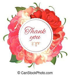 Postcard with a round frame of roses on white background. Vector illustration