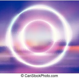 Postcard with a round neon frame and blurred background of sunrise on the sea