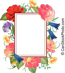 Postcard with a square frame of roses. Vector illustration