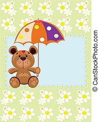 Postcard with bear, vector