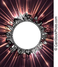 Postcard with bright explosion with rays and glare and round frame of black and white doodle leaves. Vector element for your design.