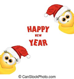 Postcard with chickens in Santa hat. Rooster symbol New Year 201