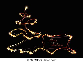 Postcard with Christmas tree. EPS10 vector illustration