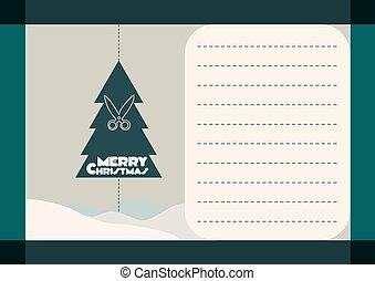 postcard with Christmas tree