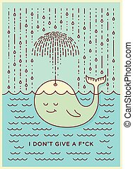 Postcard with cute careless whale baby swimming in the sea under rain making umbrella out of his fountain. Flat style design concept pastel colors. Vector illustration.