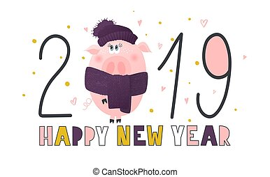 Postcard with cute funny pig- symbol of the year in the Chinese calendar 2019. Piggy cartoon character. Vector illustration.