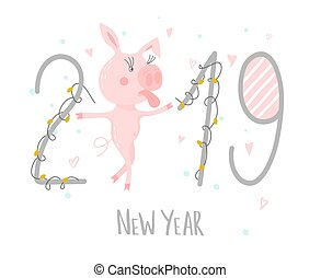 Postcard with cute funny pig - symbol of the year in the Chinese calendar 2019. Piggy cartoon character. Vector illustration.