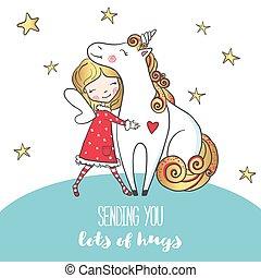 Postcard with Cute girl hugging unicorn.