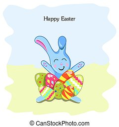 Postcard with Easter Bunny and eggs