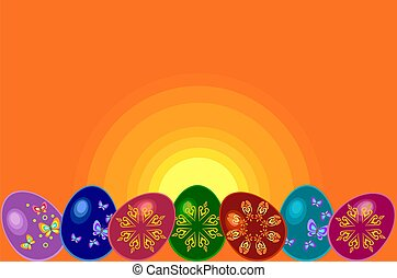 Easter Eggs - postcard with Easter Eggs