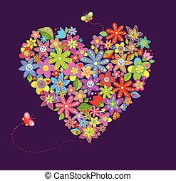 Postcard with floral heart shape