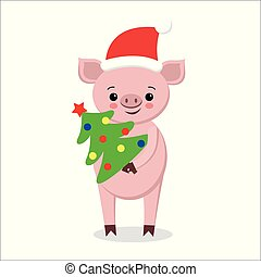 postcard with funny pig in Santa hat, scarf with ornament and christmas tree, happy New Year, cute cartoon character,