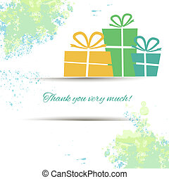 Postcard with gifts and gratitude on a watercolor background