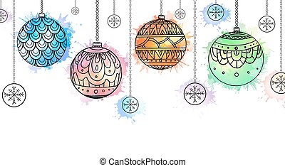 Postcard with hanging doodle Christmas balls with boho pattern and watercolor spray
