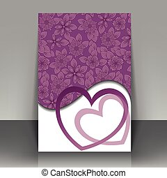 postcard with hearts - Beautiful purple postcard for...