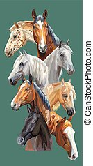 Postcard with horses-1 - Vertical postcard with portraits of...