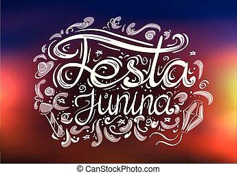 Postcard with lettering Festa junina on blurred background