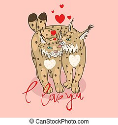 Postcard with loving lynx to the day of St. Valentine....