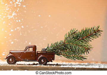 Postcard with machine pulling spruce - Festive postcard with...