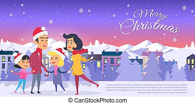 Postcard with Merry Christmas on City Background