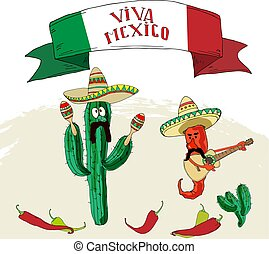 Postcard with Mexican symbols