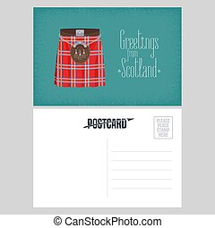 Postcard with Scottish traditional skirt kilt vector illustration