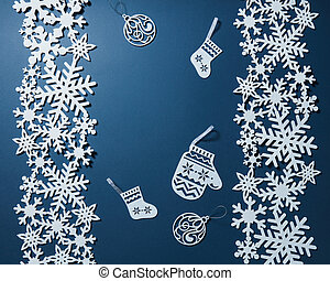Postcard with snowflakes and christmas decoration