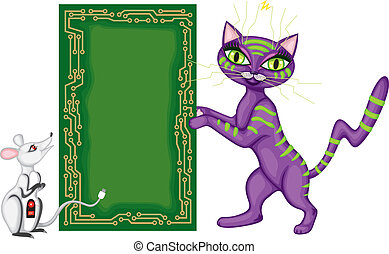 Postcard with the cat and the mouse - Techno cat and...