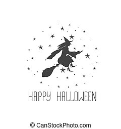 Postcard with witch and text Happy Halloween