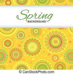 Postcard with yellow seamless pattern.