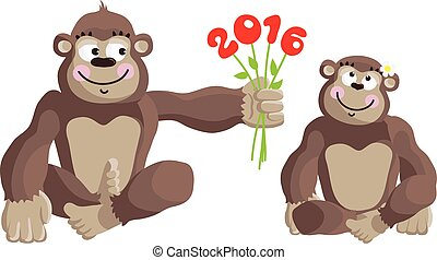 Postcard Year of the Monkey 2016.