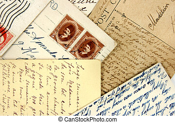 Postcards and arabic stamps - Set of vintage postcards with...