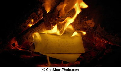 Postcards Are Thrown Into Fire - Generic Content - Person...