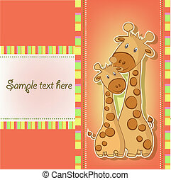 Postcards with cute giraffe