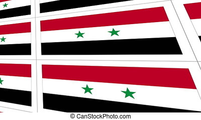 Postcards with Syria national flag - Sheet of postcards with...