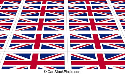 Postcards with United Kingdom national flag looped