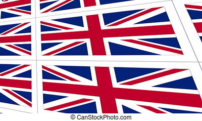 Postcards with United Kingdom national flag - Sheet of...