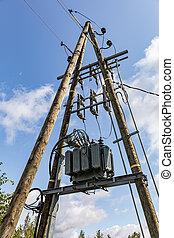poste, électrique, route
