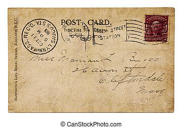 poste, 1905, tarjeta, vendimia, año