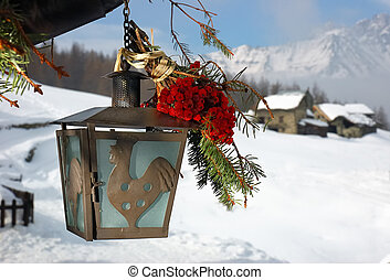 poste, adornado, lámpara