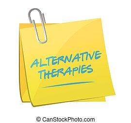 poste, alternativa, memorando, terapias