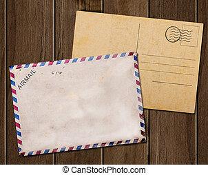 poste, antigas, fundo, cartão, em branco, branca